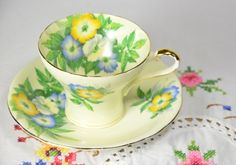 Aynsley bone china tea cup and saucer by VieuxCharmes on Etsy