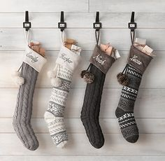 Grey norwegian knit stockings. These would look awesome on my mantel!