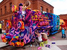 Crocheting Artist Yarn Bombs An Entire Locomotive in Poland | Bored Panda