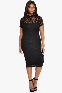 long lacy plus size black dress
