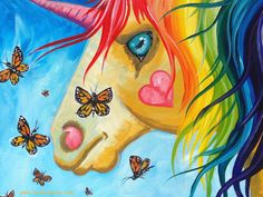 Rainbow Maned Unicorn By Cinnamon Cooney The Art Sherpa as a Fully guided art…