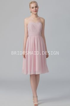 Powder Pink Chiffon Strapless Knee Length Simple Cheap Bridesmaid Dress 3757ab4f00fb