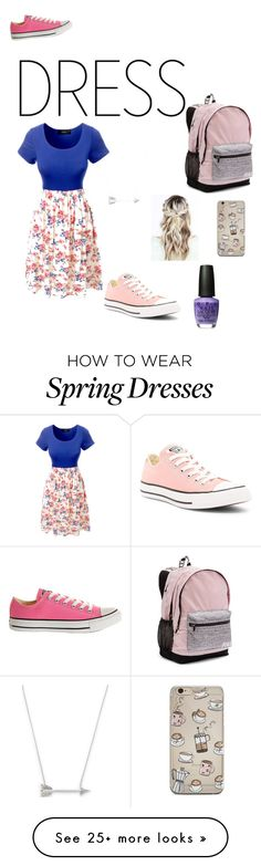 """spring school day"" by pipersullivan on Polyvore featuring LE3NO, Converse, Victoria's Secret and Estella Bartlett"