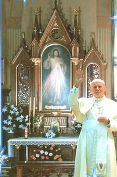 """The Apostle of Divine Mercy, St. Pope John Paul II at the shrine of Divine Mercy in Krakow on June in front of the tomb of Sister Faustina and the image of the Merciful Jesus"""" Saint Jean Paul Ii, Pape Jean Paul Ii, St John Paul Ii, Saint John, Paul 2, Catholic Prayers, Catholic Saints, Roman Catholic, Miséricorde Divine"""