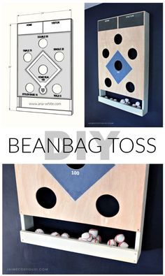 A DIY tutorial to make a baseball themed beanbag toss game. This beanbag toss has it's own beanbag holder and mounts flush to the wall. Diy Yard Games, Backyard Games, Outdoor Games, Outdoor Toys, Diy Wood Projects, Woodworking Projects, Woodworking Videos, Wood Crafts, Wall Game