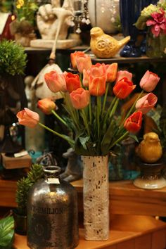 exquisite faux / artificial tulip floral arrangement / design for spring / summer  Like us on Facebook, too, to see all we have to offer.  Our photo will take you there.