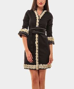Black & Camel Rosette Three-Quarter Sleeve Dress | Zulily