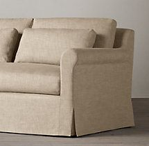Belgian Petite Roll Arm Slipcovered Sofa. Comes in 9 and 10 foot lengths