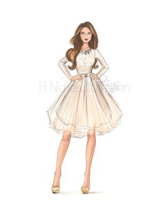 This is a listing for a custom fashion illustration intended for use only as a displayed art, or to be given as a gift. This listing is ideal for