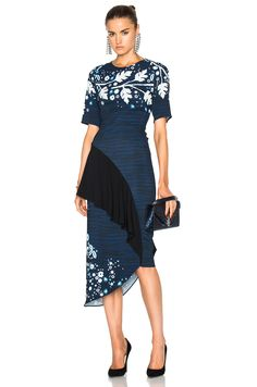Peter Pilotto Printed Cady Pencil Dress in Navy Leaf | FWRD