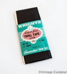 Vintage Black Twill Tape Wrights Trim