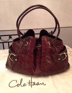 """Cole Haan Genevieve 19"""" Woven Leather Weave Tote Shoulder Hand Bag Purse EUC! #ColeHaan #TotesShoppers GORGEOUS!!! EXCELLENT CONDITION!!! BEAUTIFUL LARGE GENEVIEVE WOVEN LEATHER DENNEY WEAVE BAG IN A LUSCIOUS CHOCOLATE BROWN COLOR!!! RARE!!! SALE!!! WOW!!!"""