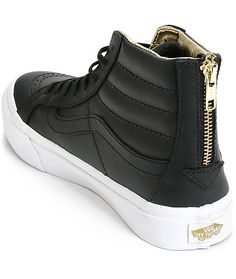 Vans Sk8-Hi Slim Black & Gold Leather Shoes (Womens)