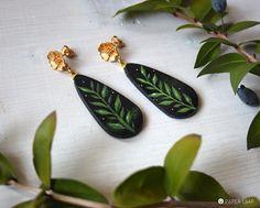 orecchini botanici a goccia dipinti, pendenti piccoli in carta nera dipinti a mano in stile botanico, orecchini con chiusura fiore a perno