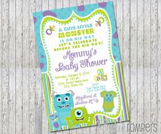 Superb Monsters Inc Inspired Baby Shower Invitation