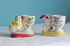 Vintage Bunny and Chick Childs Ceramic Eggcups / by SPTVintage