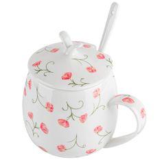 AmazonSmile: KEDDA Cute Coffee Mugs Tea Cup Fine Bone China Drinking Cups with Lid and Spoon Set Gifts for Girls Women Student 14oz (Floral): Kitchen & Dining Ceramic Mug With Lid, Tea Cup With Lid, Zen Tea, Tea Warmer, Pretty Mugs, Gifts In A Mug, Gift Mugs, Best Coffee Mugs, Cool Mugs