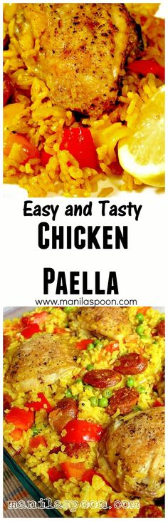 Everyone I have made this for always loves this! An easy and simple Chicken Paella that's a delight to the eye and a joy to the palate. Easy Chicken Recipes, Turkey Recipes, Mexican Food Recipes, Dinner Recipes, Chicken Paella Recipe Easy, Drink Recipes, One Pot Meals, Easy Meals, Spanish Dishes