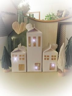 How to make a little Christmas village from milk cartons