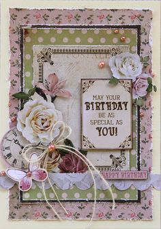 Hi everyone, When I opened my parcel of Kaisercraft goodies, I instantly fell in love with the 'Mademoiselle' collection. Card Making Inspiration, Making Ideas, Shabby Chic Cards, Birthday Cards For Women, Cricut Cards, Beautiful Handmade Cards, Flower Cards, Butterfly Cards, Birthday Greetings