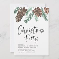 Pinecone Christmas Holiday Party Invitation