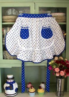 1943 White & Blue Poka Dot Apron