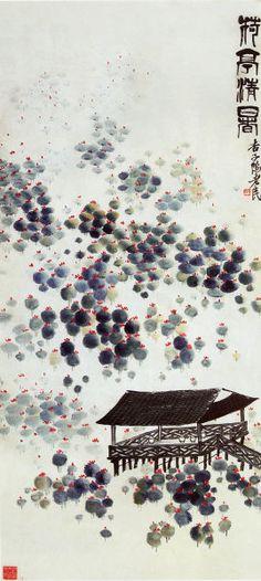 齊白石 -《荷亭清暑》 Qi Baishi (1864-1957) Japanese Calligraphy, Calligraphy Art, Chinese Brush, Chinese Art, Japanese Painting, Chinese Painting, Wu Guanzhong, Embroidery Works, Ink Painting