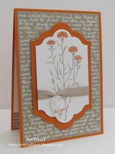 handmade card ... Wild About Flowers! ... rust and taupe ... great layout with centered focal point ... Stampin' Up!