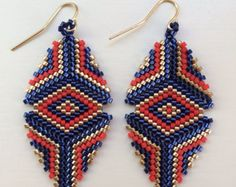 Beaded Marie Earring in Gold, Navy, and Vermilion