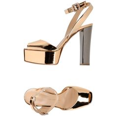 Giuseppe Zanotti Design Sandals ($466) ❤ liked on Polyvore featuring shoes, sandals, copper, leather sole sandals, leather sole shoes, ankle strap shoes, leather ankle wrap sandals and genuine leather shoes