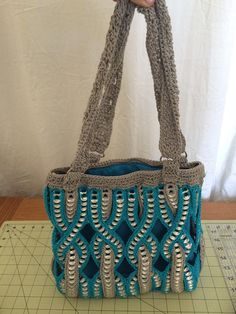 Handmade can tab purse blue and grey