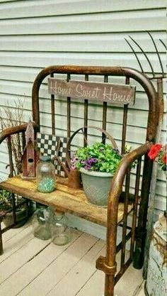 Iron Bed Frame Bench or Plant Holder – – - Iron Headboard, Headboard Benches, Headboards For Beds, Bed Frame Bench, Old Bed Frames, Metal Plant Hangers, Rustic Gardens, Metal Beds, Small Gardens