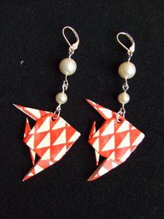 Origami paper washi fish earrings