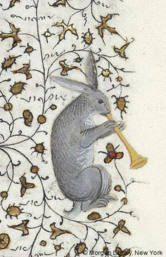 Rabbit playing horn | Book of Hours | France, Paris | ca. 1420-1425 | The Morgan Library & Museum
