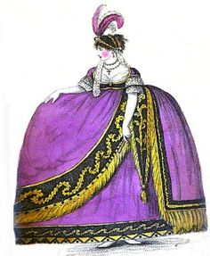 A lady in court dress from A book explaining the ranks and dignities of British Society Regency Gown, Regency Era, Historical Costume, Historical Clothing, Opera Dress, Mourning Dress, Court Dresses, 19th Century Fashion, Empire Style