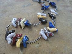 Mexican Glass Bird Necklace by BaublesAbode on Etsy, $35.00