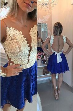 Cute Short Homecoming Dress, Royal Blue Lace Homecoming