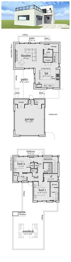 Simple Modern House Floor Plans small modern house plan and elevation 1500sft plan #552-2 | small