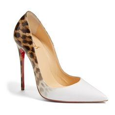 Women's Christian Louboutin 'so Kate' Pointy Toe Pump ($745) ❤ liked on Polyvore featuring shoes, pumps, heels, louboutin, shoes - heels, leopard white patent, white pumps, white stiletto pumps, white stilettos and leopard pointed toe pumps