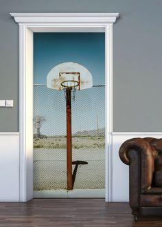 Basketball Net Door Mural Wall Decor, Net Door, Door Murals, Mural, Vinyl Doors, Home Decor, Man Cave, Doors, Residential Doors