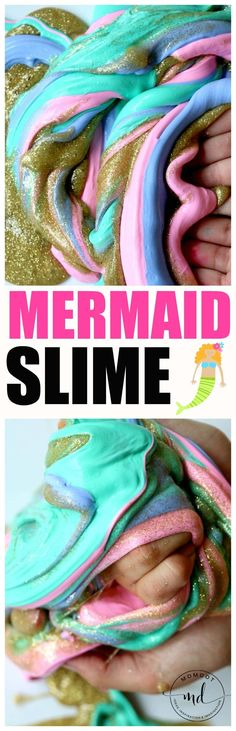 Mermaid Fluffy Slime Easy Recipe with Liquid Starch – Mermaid fluffy slime is a blast to make. Get this mermaid fluffy slime recipe in colors of sea green, purple, and pinks,coming alive with gold glitter Glitter Crafts, Glitter Slime, Gold Glitter, Fluffy Slime Recipe, Easy Slime Recipe, Mermaid Slime, Mermaid Diy, Homemade Slime, Diy Slime