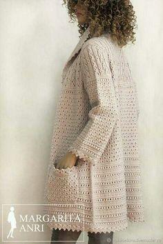 Crochet Coat, Crochet Cardigan Pattern, Crochet Jacket, Knitted Coat, Crochet Blouse, Crochet Clothes, Diy Clothes, Crochet Fashion, Dame