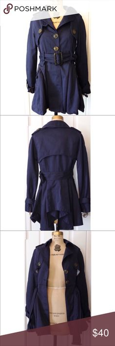 """Millard Fillmore Belted Blue Coat Jacket S Cute Millard Fillmore Belted Coat, S.   Laying flat it measures approximately: shoulder to bottom 32"""", armpit to armpit 16"""", armpit to cuff 17"""". Poly/Nylon Blend.   The thread on top button is a little loose, might have to be tightened at some point. Nice overall condition and smoke free home. Thanks! Millard Fillmore Jackets & Coats Trench Coats"""