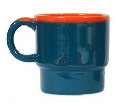 HK-living Mok blauw/oranje 8x8x9cm
