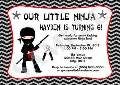 Printable Ninja Birthday Party Invitation Digital by jessica91582, $10.00