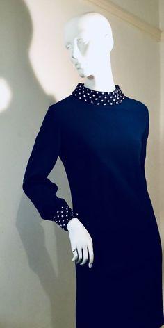 Rare, Mint! Vintage 1960s Navy Crepe, Heavily Beaded Mod Dress 10 Vintage Clothing, Vintage Outfits, Mod Dress, 1960s, Vintage Ladies, High Neck Dress, Mint, Navy, Chic