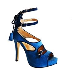 Trendy Blue Peep-toe Sandals with Double Buckles⊰⊹✿ ..  http://www.ericdress.com/list/cheap-stiletto-sandals-101991/17/