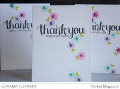 Mama Elephant Merci & Many Thanks stamp sets.  Inks:  ME Lemongrass, Tutti Frutti,  Sweet Lilac, & Fresh Mint.  Dies:  ME Sew Fancy