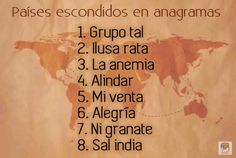 Países escondidos en anagramas. Un juego de inteligencia verbal #entrenatumente