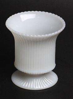 Vintage EO Brody Ribbed Milk Glass Vase | eBay